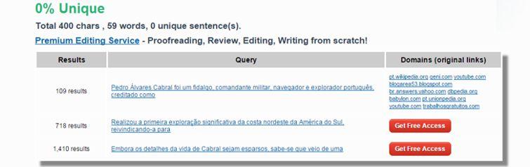 tela da ferramenta online Plagiarism