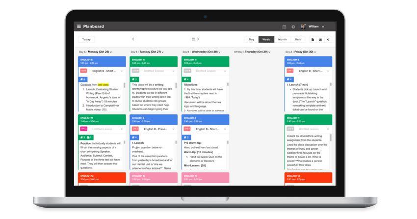 tela da ferramenta online Planboard 2