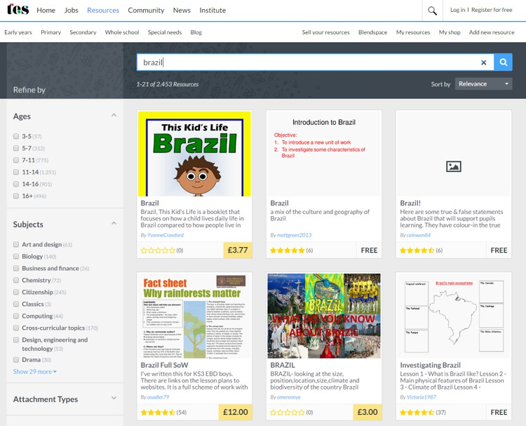 site tes para professores - pesquisa Brasil