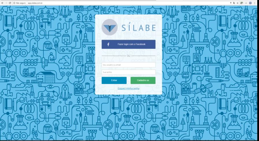 Página inicial para login na Plataforma Sílabe