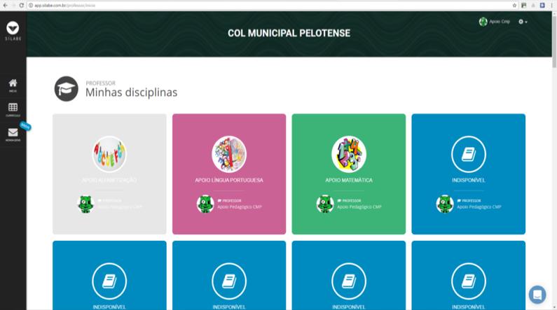 Página Inicial da plataforma com algumas disciplinas já preparadas