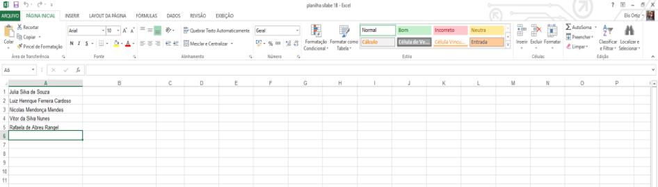 Modelo da planilha Excel gerada pela Plataforma Sílabe