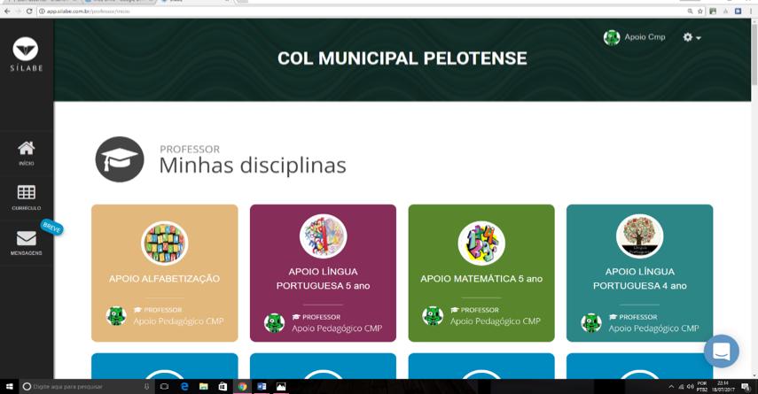Página das disciplinas na Plataforma Sílabe